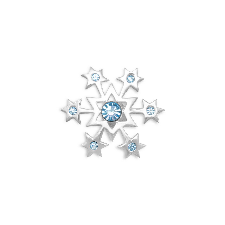 Sterling Aqua Crystal Snowflake Pin Measures 27mm In Diameter Six 2mm One 5.5mm Aqua Blue Crystals by