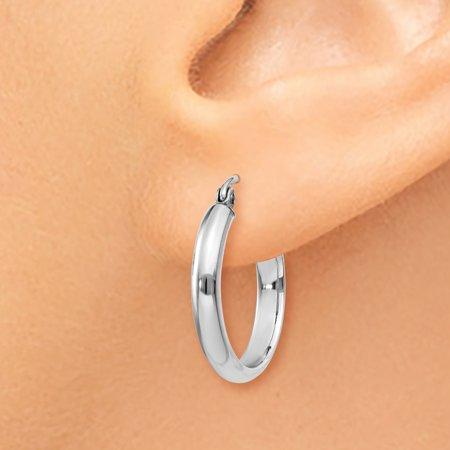 14K White Gold Polished Hoop Earring - image 2 de 4