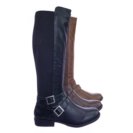 Bamboo Belted Belt - Montana75 by Bamboo, Fur Lined Fashion Equestrian Riding Boots w Elastic Panel Belt Harness