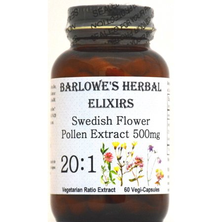 Swedish Flower Pollen Extract 20:1 - 60 500mg VegiCaps - Stearate Free, Bottled in Glass! FREE SHIPPING on orders over (Free Glasses Free Shipping)