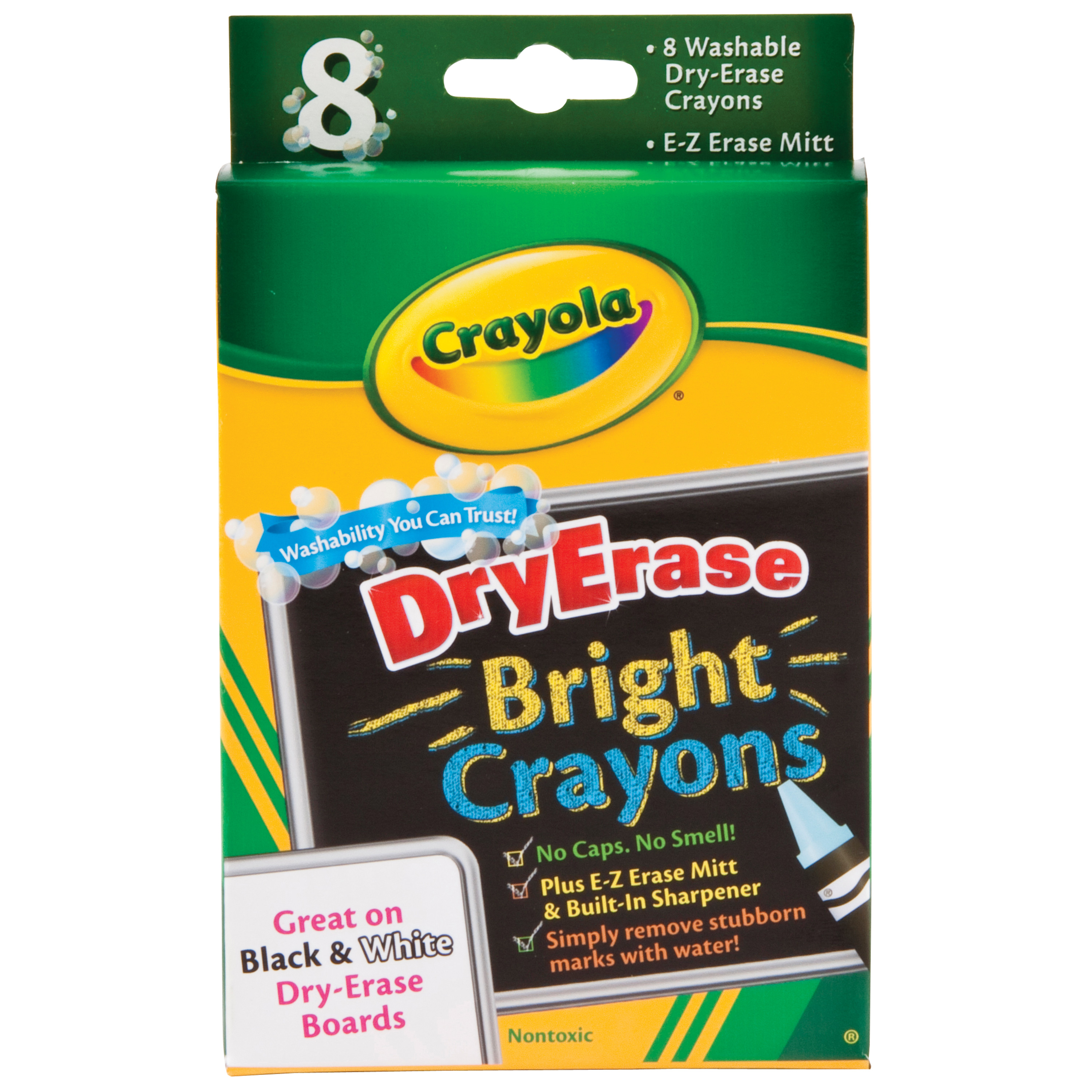 Crayola Washable Dry-Erase Crayon Set, 8 Colors, Brights