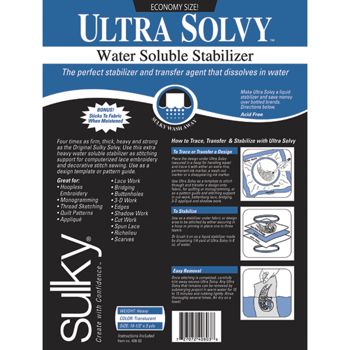 "Ultra Solvy Water Soluble Stabilizer, 19-1/2"" x 3 Yards"