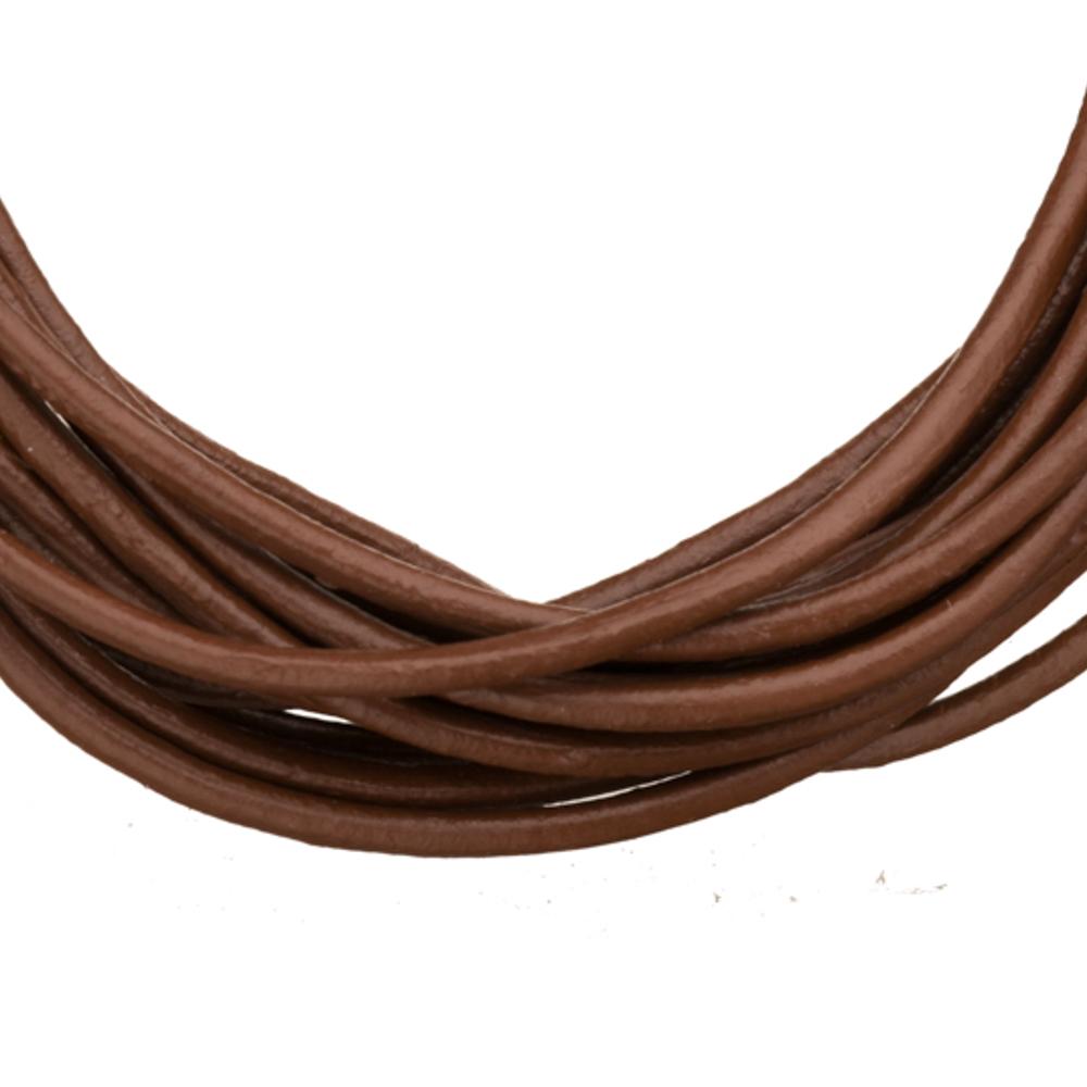 Full-Grain Genuine Leather Cord, 2mm Round Dark Brown 5 Yard