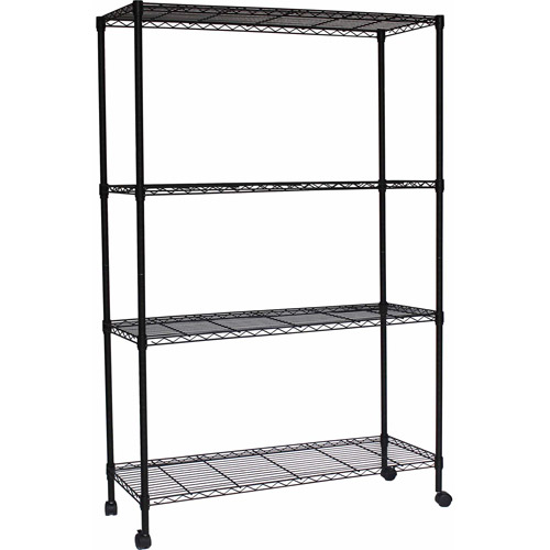 "Muscle Rack 4-Shelf Wire 48""W x 18""D x 72""H Shelving Unit, Black, MWS481872"