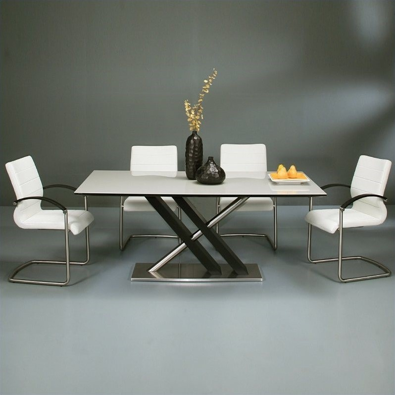 Pastel Furniture Charlize 5 Piece Dining Room Set w  Akasha Chairs in Wenge by Pastel Furniture