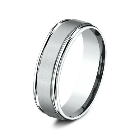 Women's Comfort-Fit Satin Finish High Polish Round Edge Carved 14K White Gold Wedding Band Ring 6.5mm