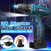 25V Cordless Impact Wrench Hammer Drill Wireless Electric LED Screwdriver 3/8Inch Driver 4400mAh 0-1650RPM Rechargeable 2 Speed Screwdriver Drill,Waterproof