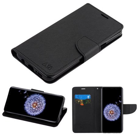 online store c95fe c09b4 Samsung Galaxy S9 Plus - Leather Flip Wallet Case Cover Stand Pouch Book  Magnetic Buckle BLACK
