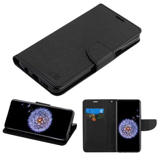 Samsung Galaxy S9 Plus - Leather Flip Wallet Case Cover Stand Pouch Book Magnetic Buckle BLACK