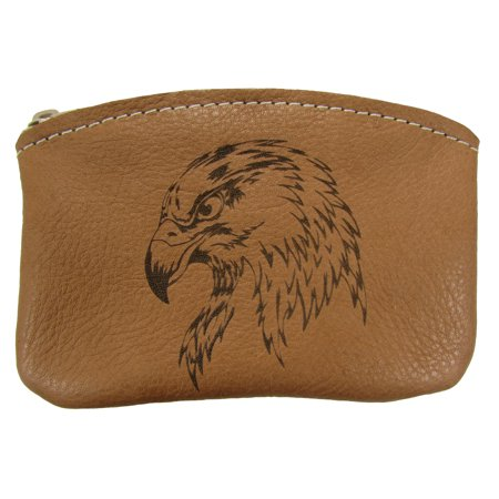 Tan Coin Set - Leather Engraved Bald Eagle Zippered Coin Pouch Change Purse USA Made, Tan