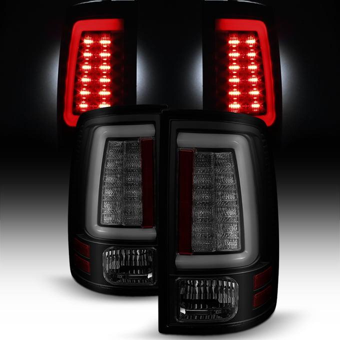 Fits 09-18 Dodge Ram 1500 2500 3500 Black Smoked LED Tube Tail Lights Brake Lamp