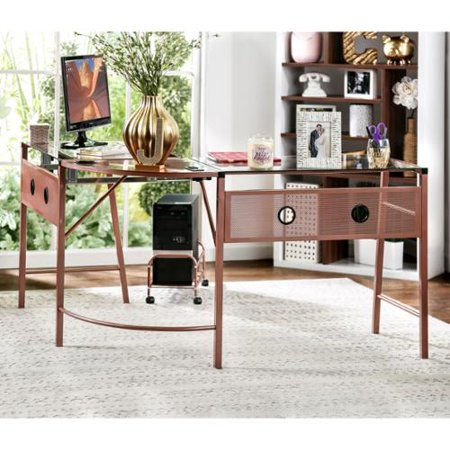Furniture Of America Kriston Metal L Shaped Computer Workstation With Cpu Shelf Rose Gold