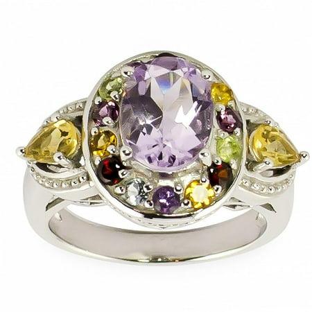 Amethyst, Citrine, Garnet, Rhodolite, White Topaz and Peridot Gemstone Sterling Silver Ring (Size 7) Amethyst Garnet Citrine Rings