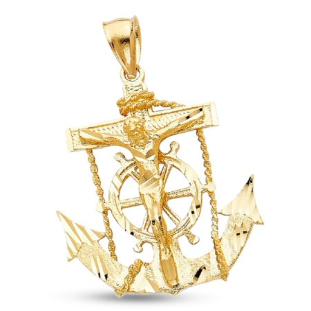 14k Gold Mariners Cross - Jesus Cross Mariner Charm Solid 14k Yellow Gold Anchor Crucifix Pendant Design Mens 35 x 32 mm