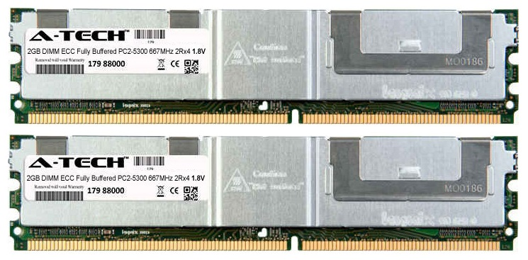 4GB Kit 2x 2GB Modules PC2-5300 667MHz 1.8V 2Rx4 ECC Fully Buffered DDR2 DIMM Server 240-pin Memory Ram