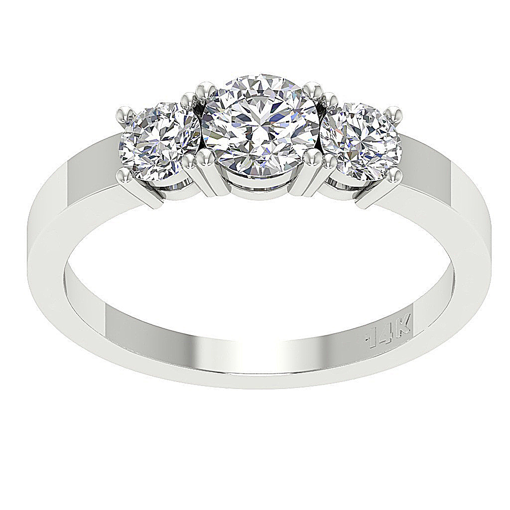 3 Stone Engagement Ring SI1 G 1.20Ct Natural Diamond 14KT...