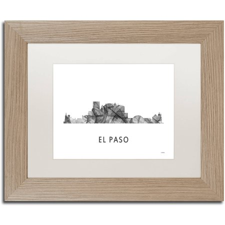 Trademark Fine Art 'El Paso Texas Skyline WB-BW' Canvas Art by Marlene Watson, White Matte, Birch Frame