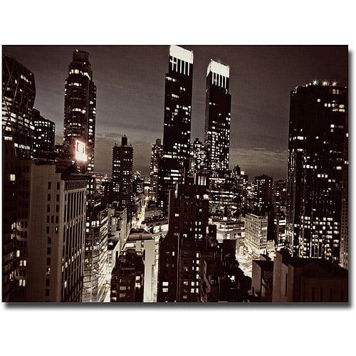 """Trademark Fine Art """"NYC After Dark"""" Canvas Wall Art by Ariane Moshayedi"""