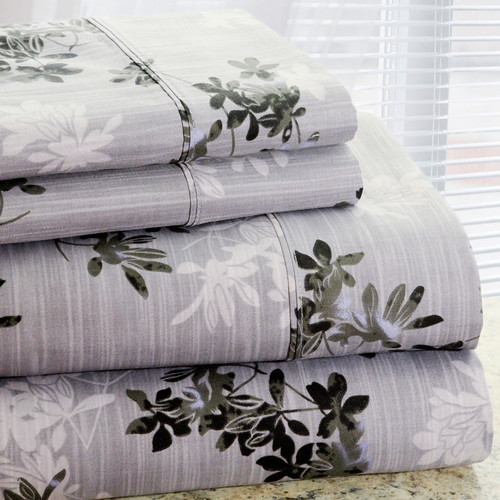 Hotel New York Park Avenue 350 Thread Count 4 Piece Cotton Rich Plum Flower Printed Sheet Set