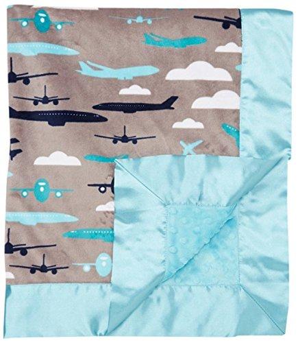 """My Blankee Aviator Minky Grey w/ Minky Dot Topaz Baby Blanket, 30"""" x 35"""""""