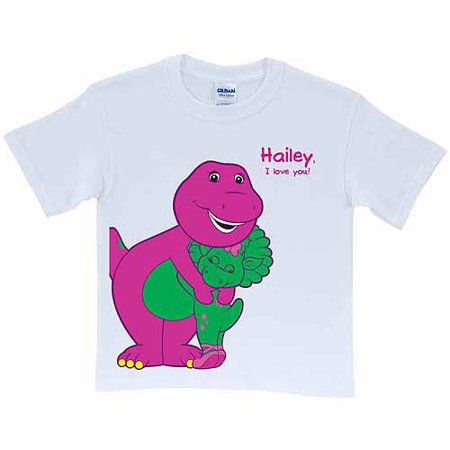 Personalized Barney & Baby Bop Toddler T-Shirt, White Personalized Baby Shirts