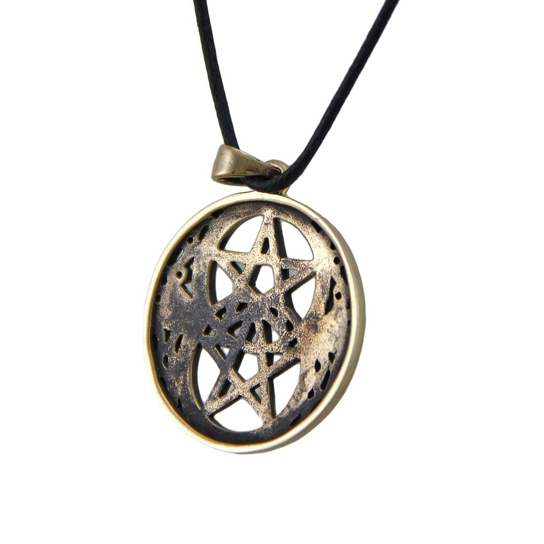 Double Pentacle Bronze Finish Pewter Pendant on Cord Necklace - image 1 de 3