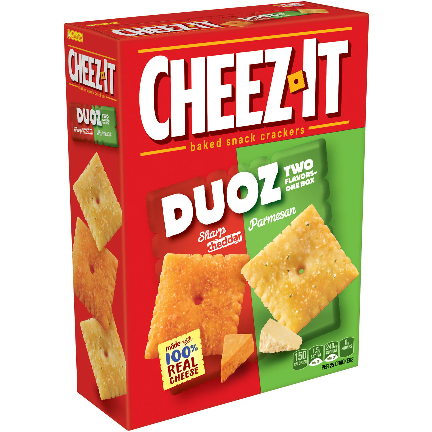 Cheez-It Duoz Sharp Cheddar Parmesan Baked Snack Crackers, 12.4 oz by Kellogg Company