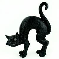 "8"" Black Decorative Scary LED Tabletop Cat"