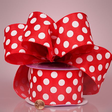 Red and White Jumbo Polka Dots 2-1/2 inches x 25 yards Wired Satin Decorative Ribbon