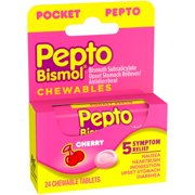 Multi-Symptom Pepto Bismol Pocket Chewable Tablets for Nausea, Heartburn, Indigestion, Upset Stomach, and Diarrhea Relief, Cherry Flavor 24 ct