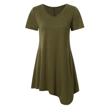 Redcolourful Women's Short Sleeve Casual Loose Waist T-Shirt Dress Irregular Dress Army Green M
