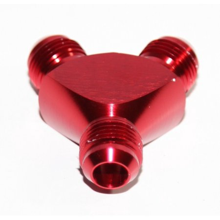 RED Male Flare Y-Block Fitting Adapter AN8 8-AN Male to 2X AN8 8-AN Male