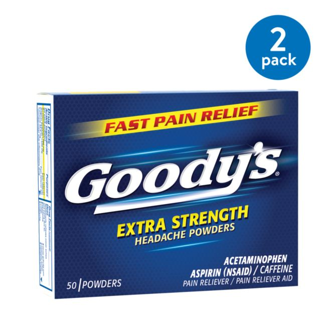 (2 Pack) Goody's Extra Strength Fast Pain Relief Aspirin Powder Stick Headache Powders, 50.0 CT