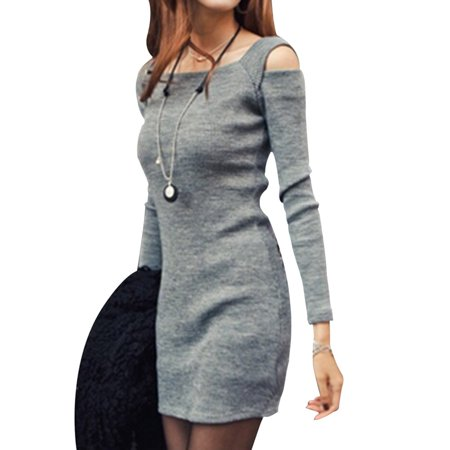 Fancyleo Casual Square Collar Women Knitted Sweater Dress Long Sleeve Bodycon Female Sweaters Autumn Winter Dresses