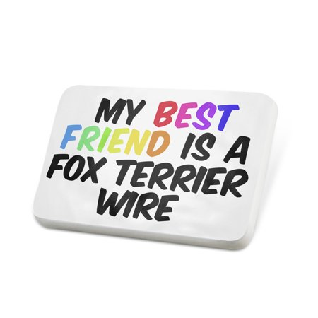 Porcelein Pin My best Friend a Fox Terrier Wire Dog from England Lapel Badge –