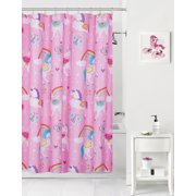 Mainstays Kids Rainbow Unicorns Coordinating Fabric Shower Curtain