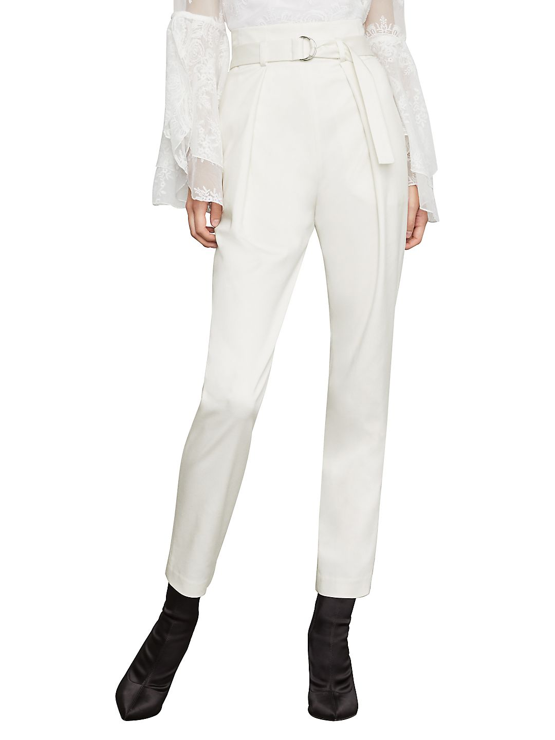 Belted Pleat-Front Straight-Leg Ankle Pants