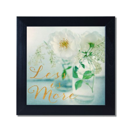 Metallic White (Less is More White Flower Photo with Metallic Gold Foil Black Framed 12x12 Art)