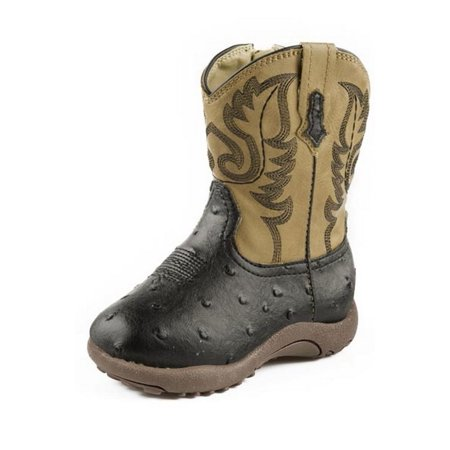 - Roper Western Boots Boy Ostrich Zip Infant Black 09-016-1900-0050 BL
