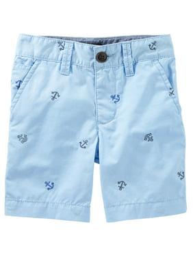 OshKosh B'gosh Baby Boys' Flat-Front Shorts - Light Blue - Anchors -6 Month