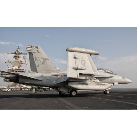 An Ea 18G Growler Aboard Uss George Hw Bush Canvas Art   Giovanni Collastocktrek Images  18 X 11