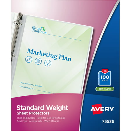 Avery Standard-Weight Clear Sheet Protectors, Acid-Free, Archival Safe, Top Loading, 100 Protectors (75536) Plastic Paper Sleeves