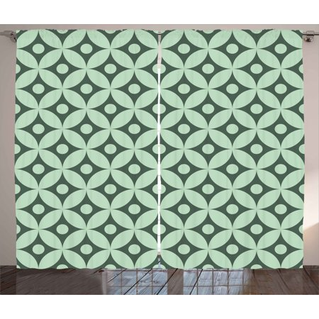 Mint Curtains 2 Panels Set Old Fashioned Floral Pattern Circular Polka Dots Vintage Feminine Fashion