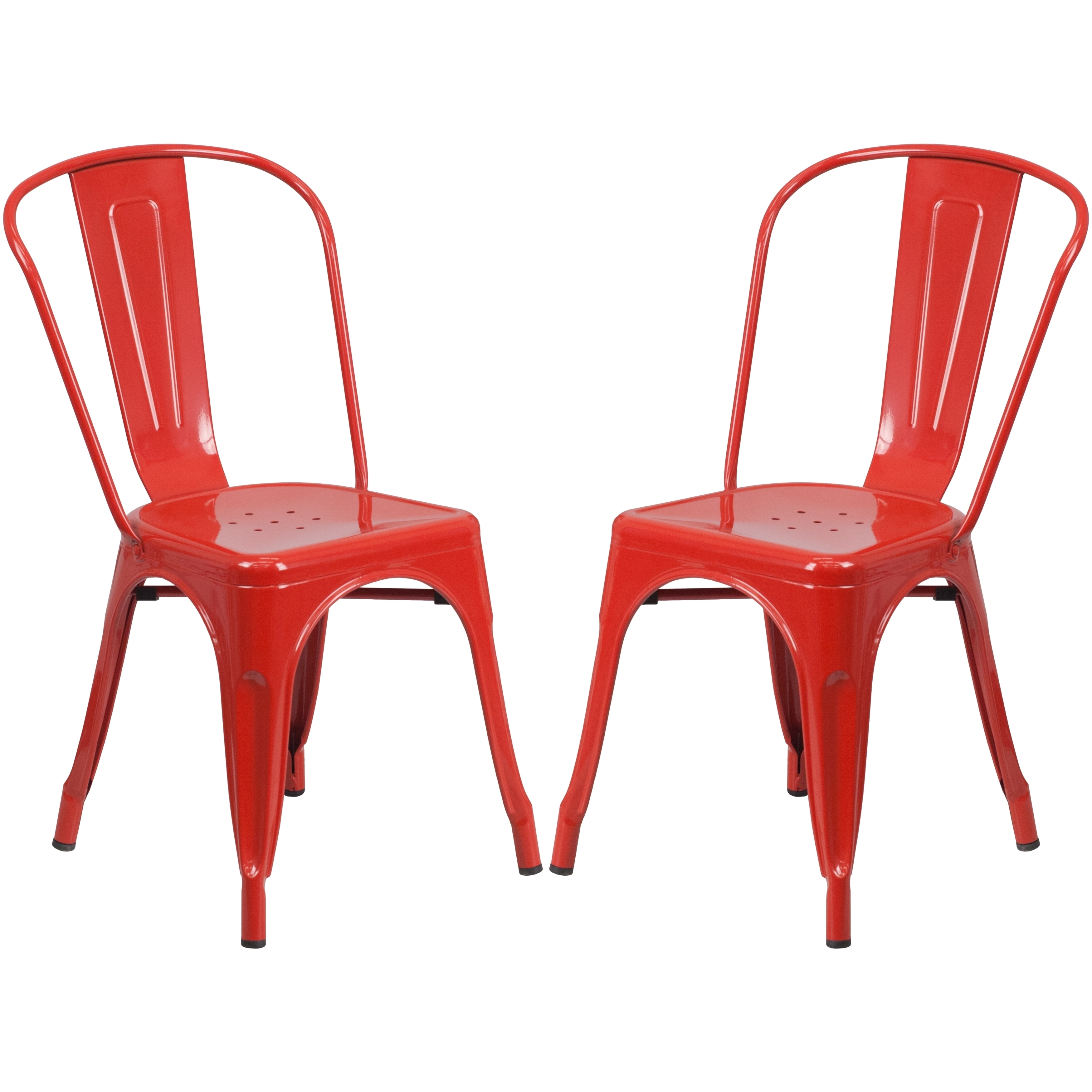 A Line Furniture Red Bistro Style Metal Chair