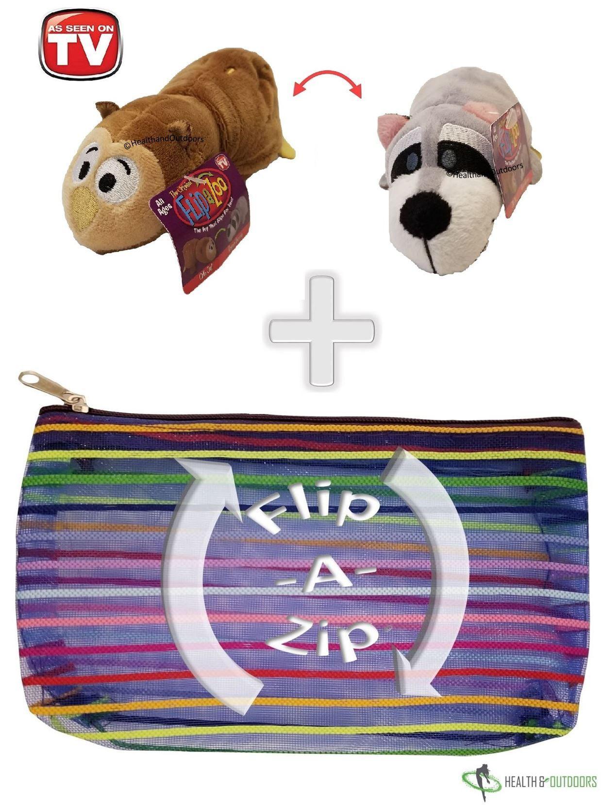 "Flipzee 5"" & FlipaZip COMBO (Ollie Owl/Roscoe Raccoon) Huggable Flip a Zoo Stuffed Animal is 2 Zoo Pets in 1"