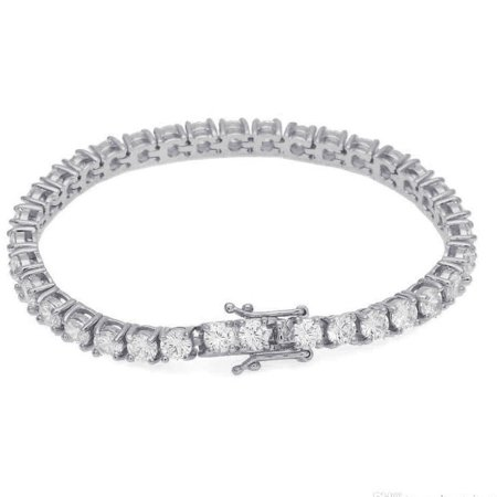 Mens Ladies 14K White Gold Finish Simulated Diamonds Iced Out 1 Row Tennis Link Bracelet 5mm/7.75 Inch ()