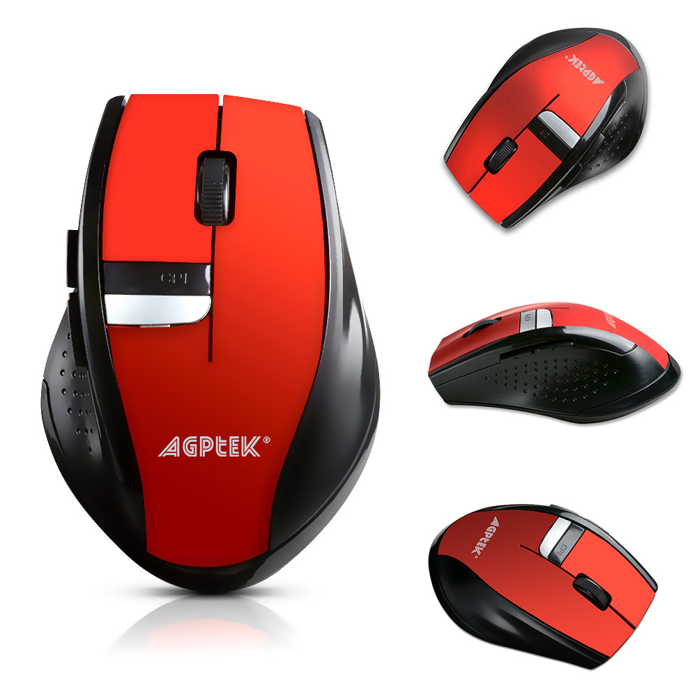 AGPtek Wireless Mobile Optical Mouse With Six Function Key 3 DPI Levels  w/ USB Wireless Receiver Burnning Red