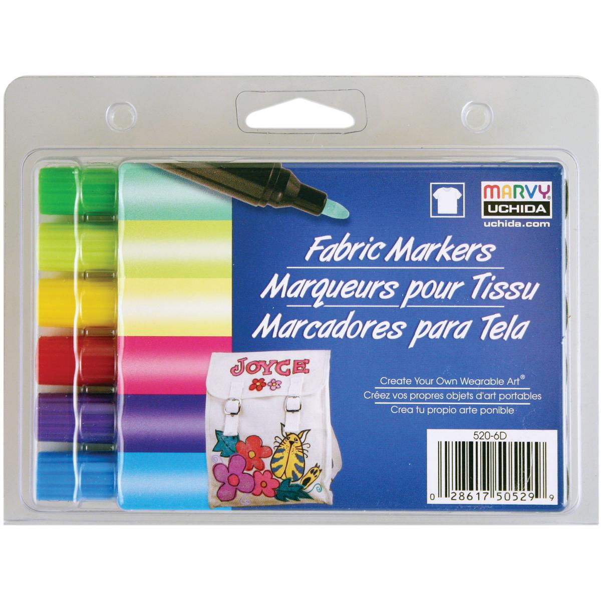 Fabric Marker Broad Tip, 6/pk, Brilliant