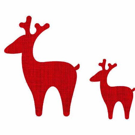 Adhesive Die-Cut Burlap, Reindeers, Christmas Red, 3 Packs