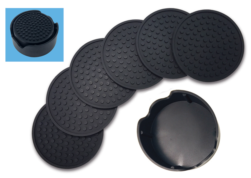"Better Kitchen Products, Large 4.3"" Silicone Coasters, Set of 6, with Holder, Black by"